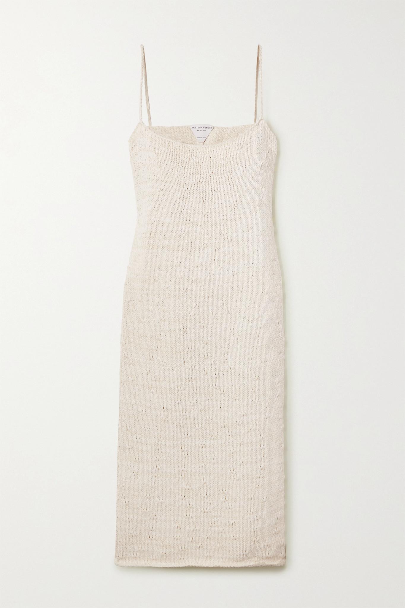 BOTTEGA VENETA - Cotton-blend Midi Dress - White - x small