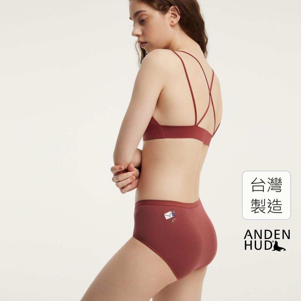 【Anden Hud】浪漫偏執.高腰三角內褲(玫紅-刺繡情書) 台灣製