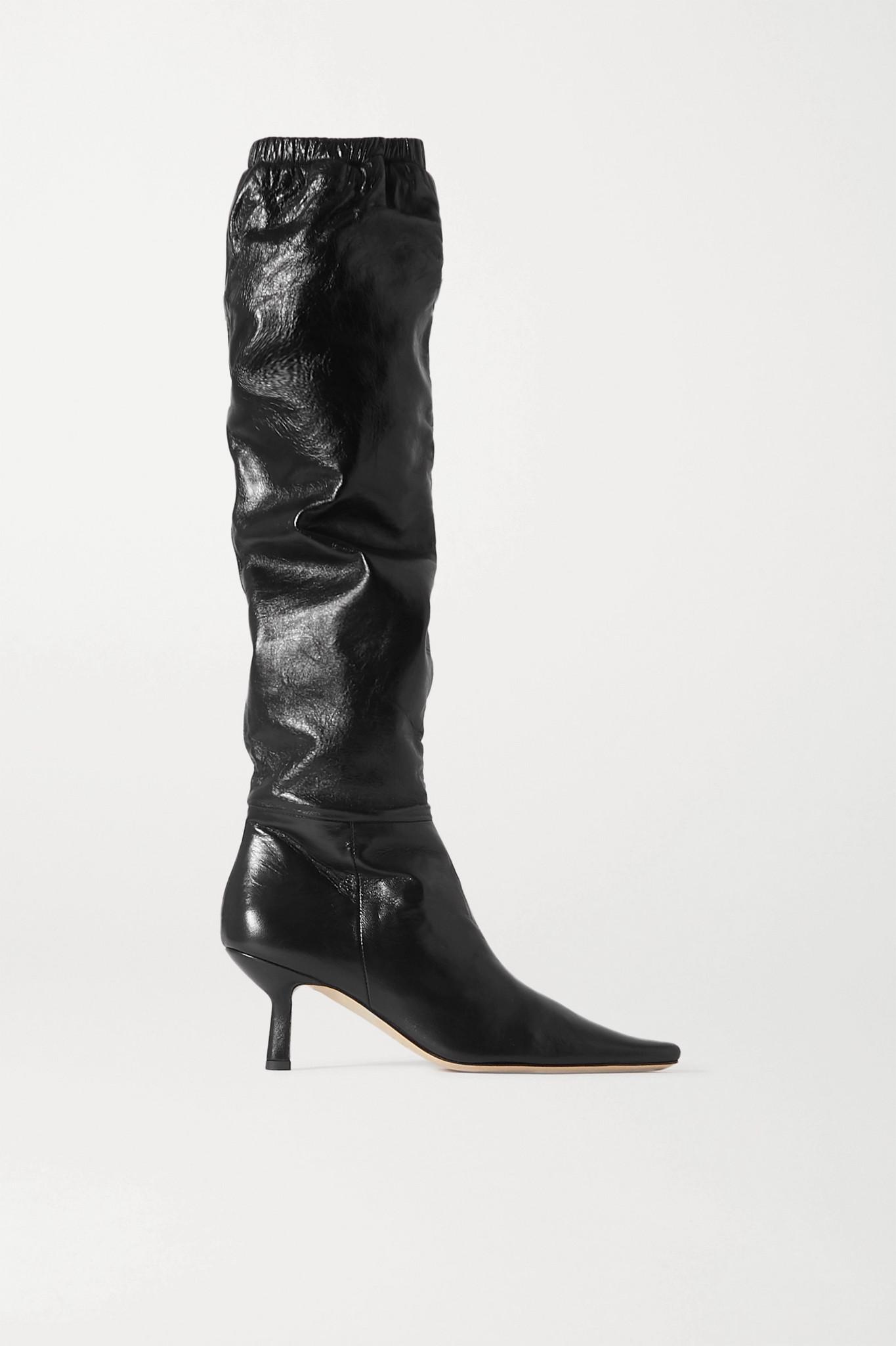 BY FAR - Gwen 皮革及膝长靴 - 黑色 - IT39