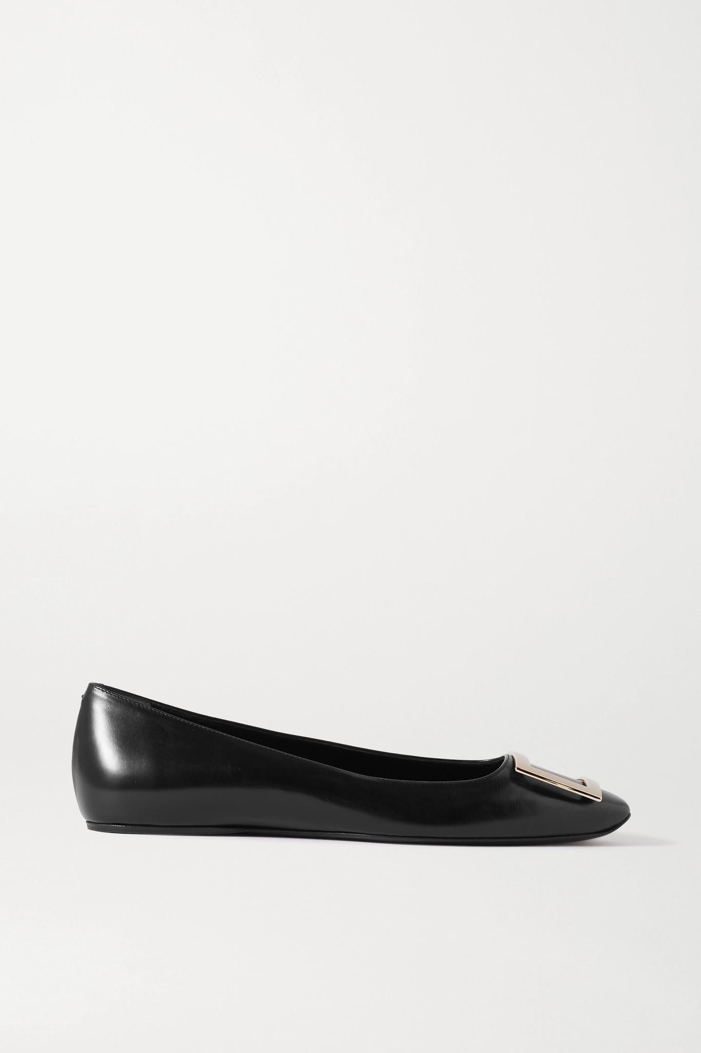 ROGER VIVIER - Trompette Bellerine Glossed-leather Ballet Flats - Black - IT35