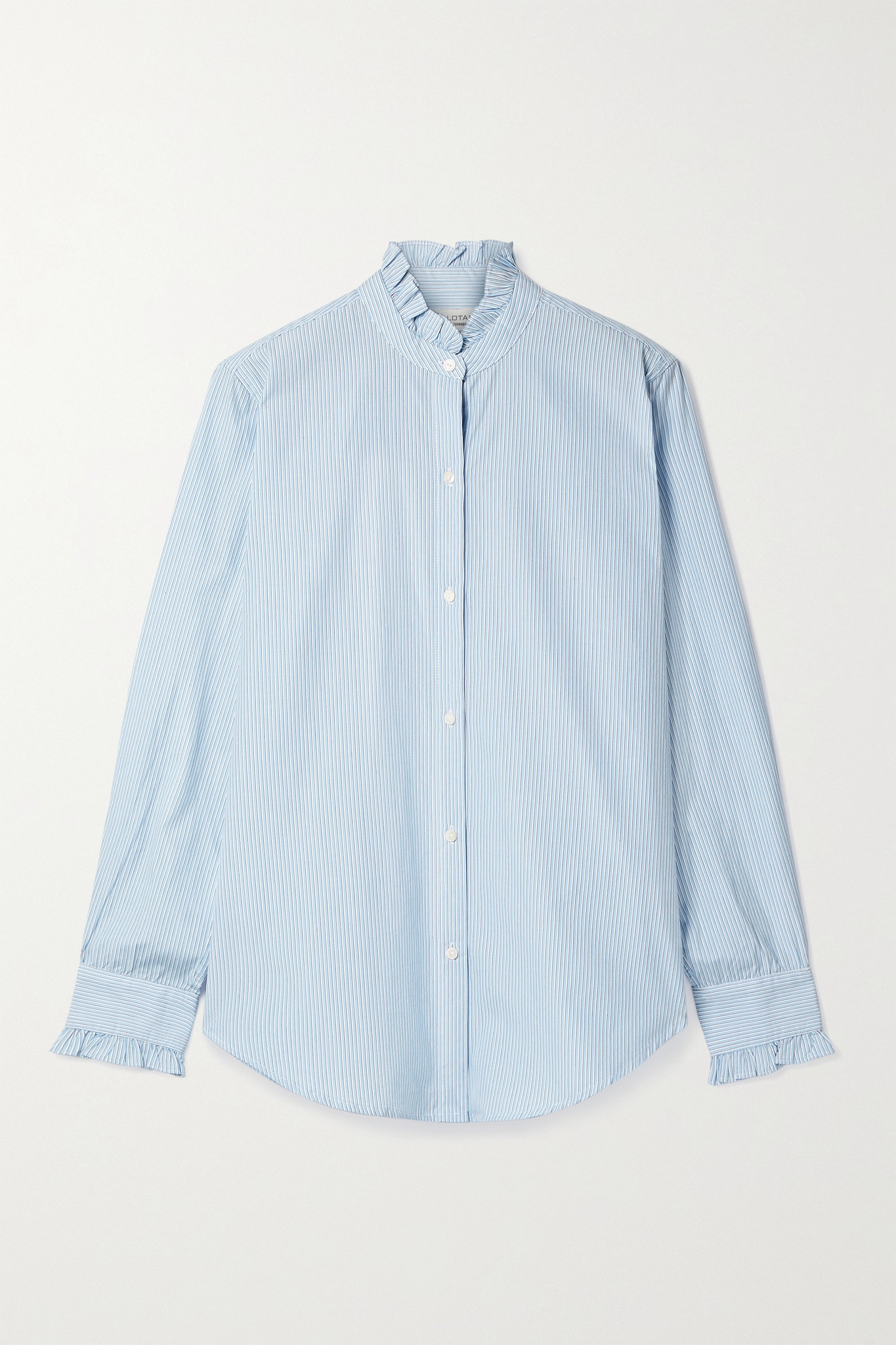 NILI LOTAN - Lydia Ruffled Striped Cotton-poplin Shirt - Blue - large