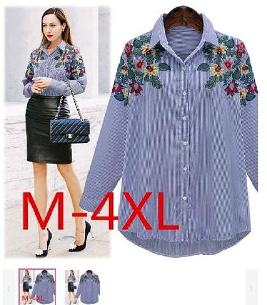 XL-5XL胖妹妹襯衫上衣~長袖襯衫~艷麗花朵繡花氣質顯瘦條紋襯衫8515.2F029衣時尚 實物比圖片漂亮