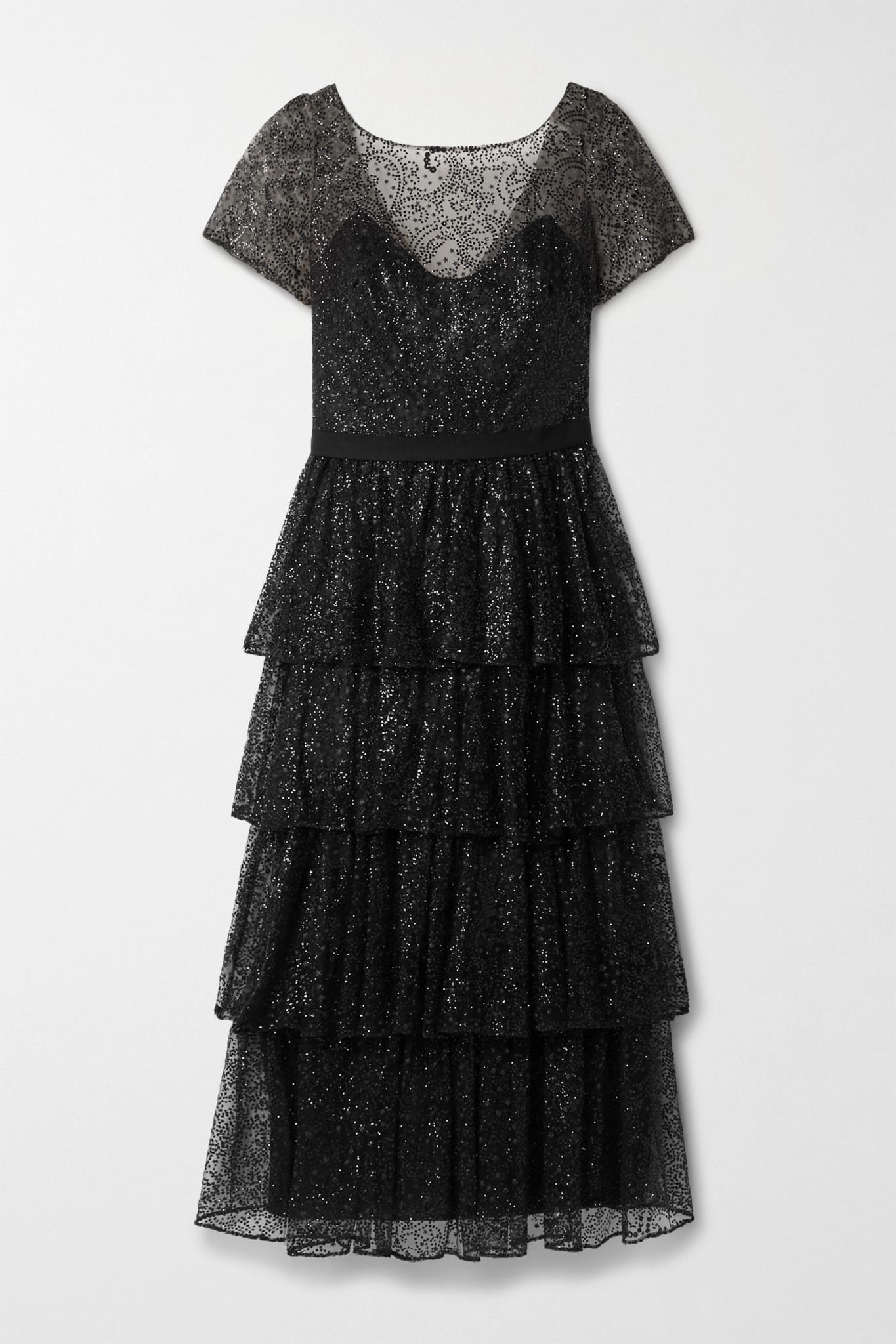 MARCHESA NOTTE - Tiered Glittered Tulle Midi Dress - Black - US10