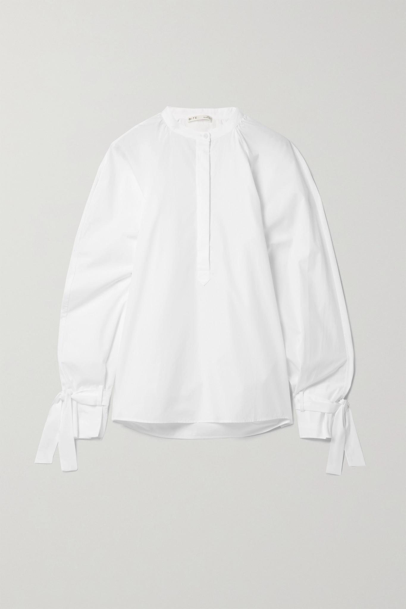 BITE STUDIOS - + Net Sustain Tie-detailed Organic Cotton-poplin Blouse - White - UK10