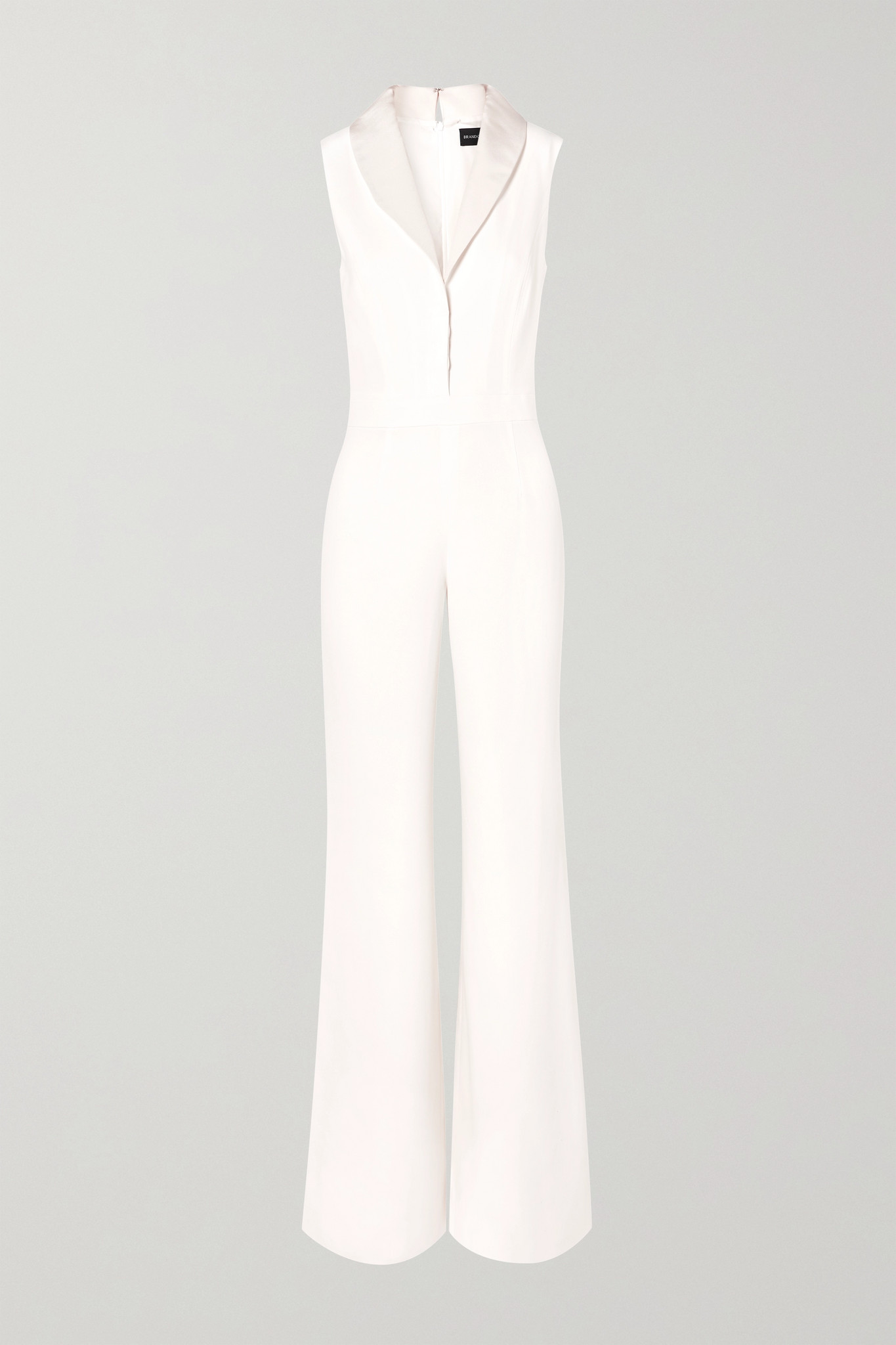BRANDON MAXWELL - Faille-trimmed Silk Crepe De Chine Jumpsuit - Ivory - US6