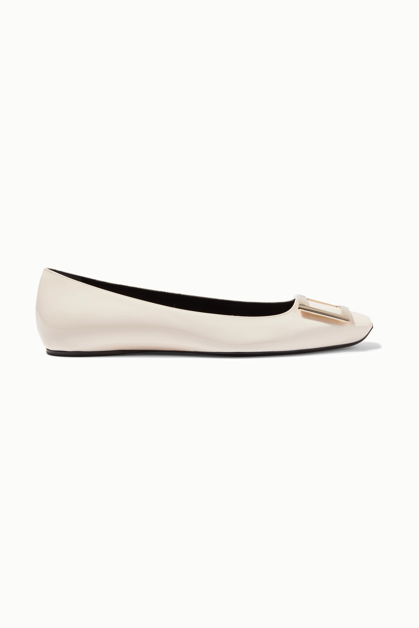 ROGER VIVIER - Trompette Bellerine Patent-leather Ballet Flats - White - IT39.5