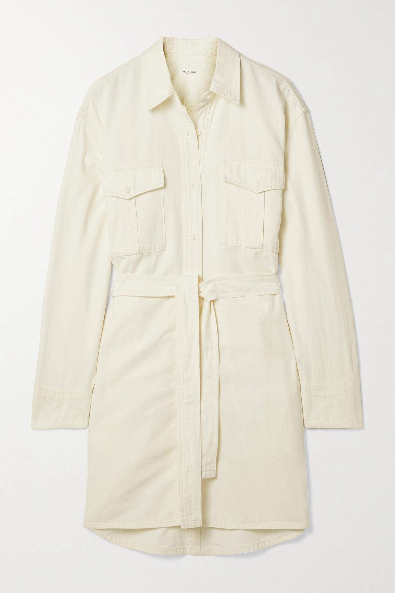 RAG & BONE - 配腰带衬衫式牛仔连衣裙 - 米白色 - large