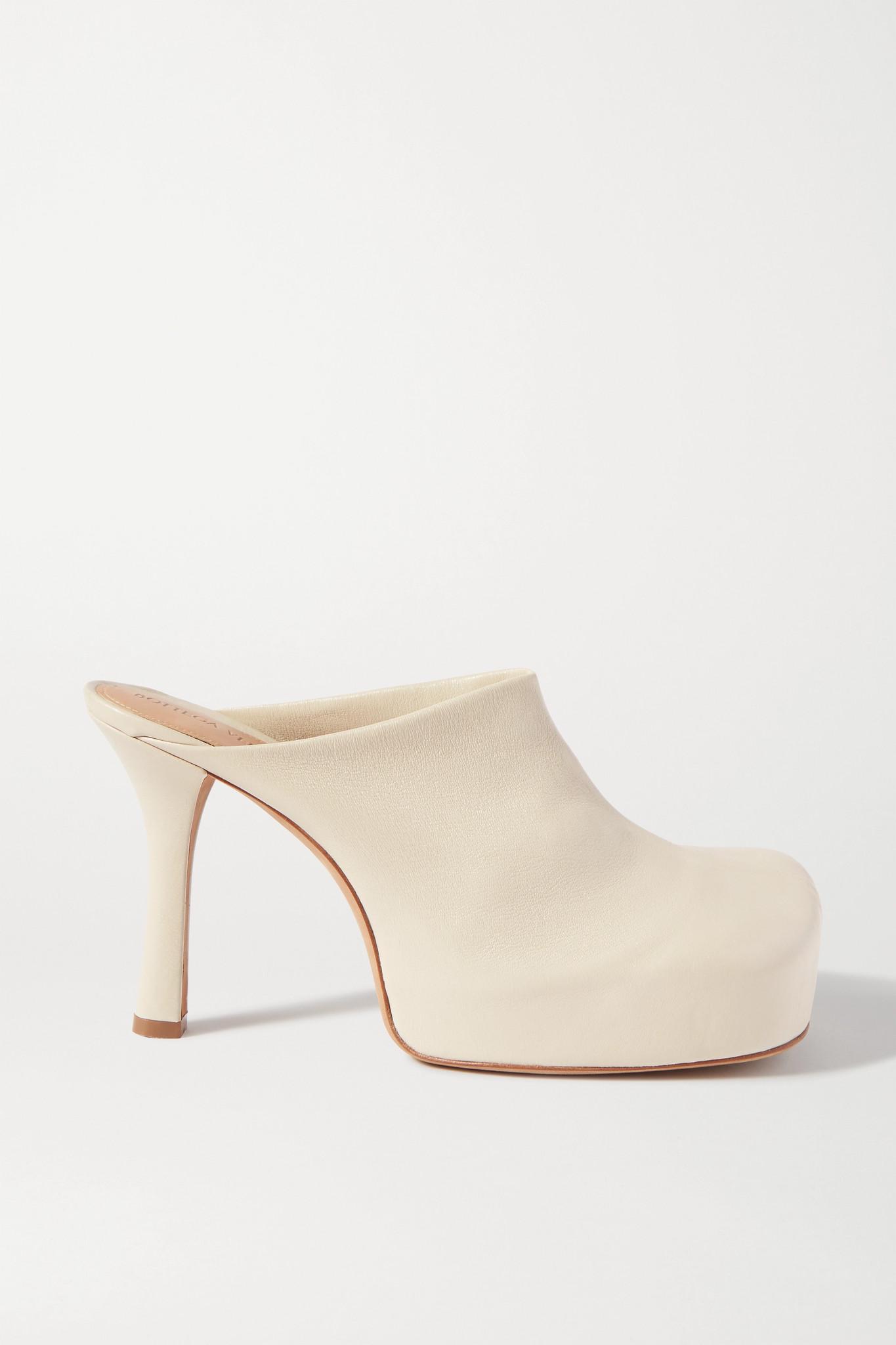 BOTTEGA VENETA - Leather Platform Mules - Off-white - IT40
