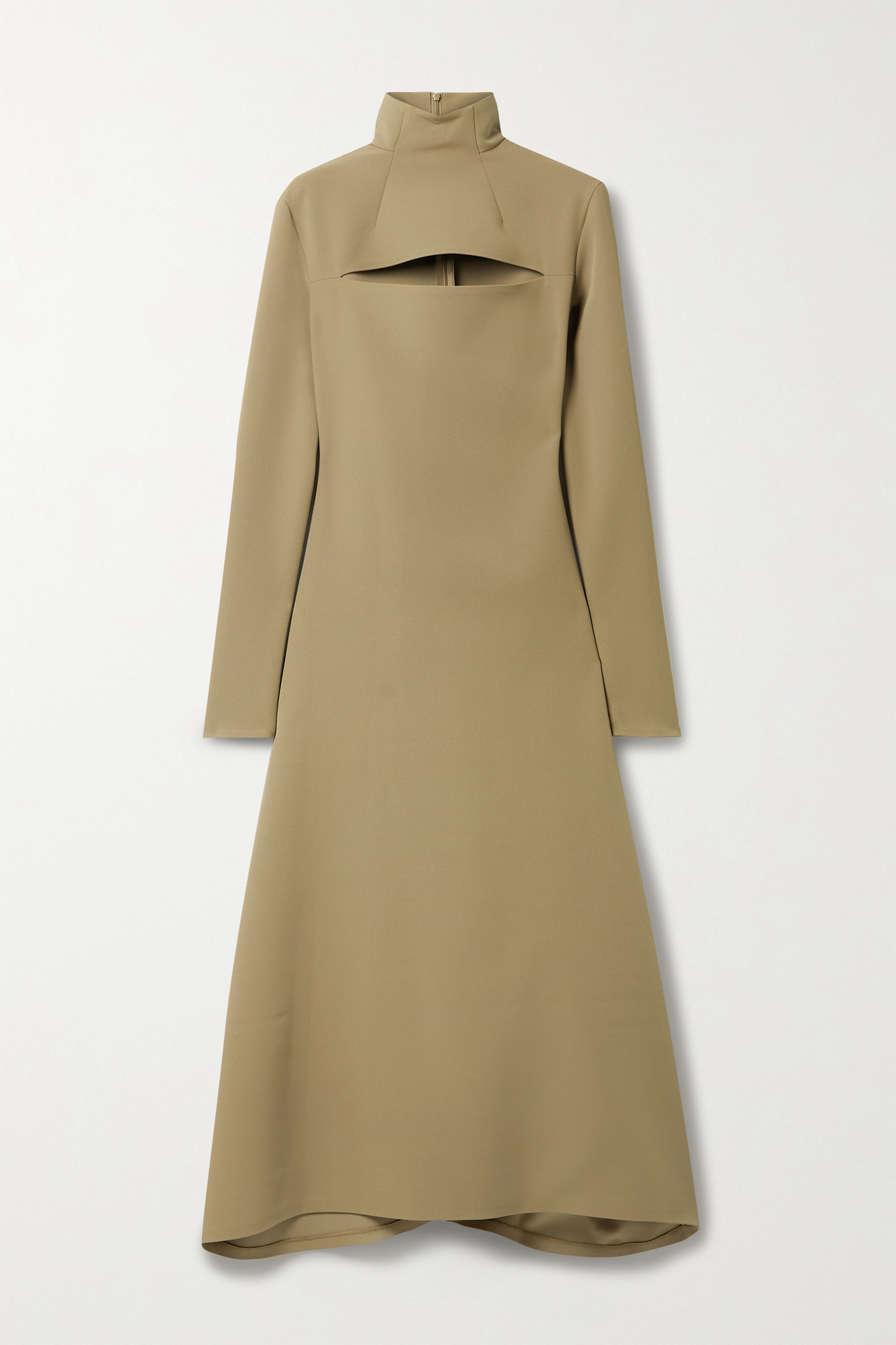 A.W.A.K.E. MODE - 不对称挖剪卡迪面料高领连衣裙 - 棕色 - FR36