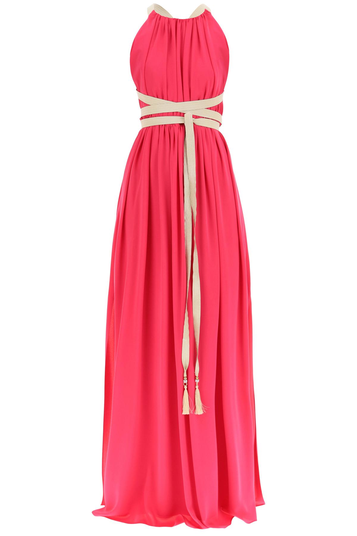 MAX MARA LONG SILK DRESS 40 Fuchsia, Gold Silk