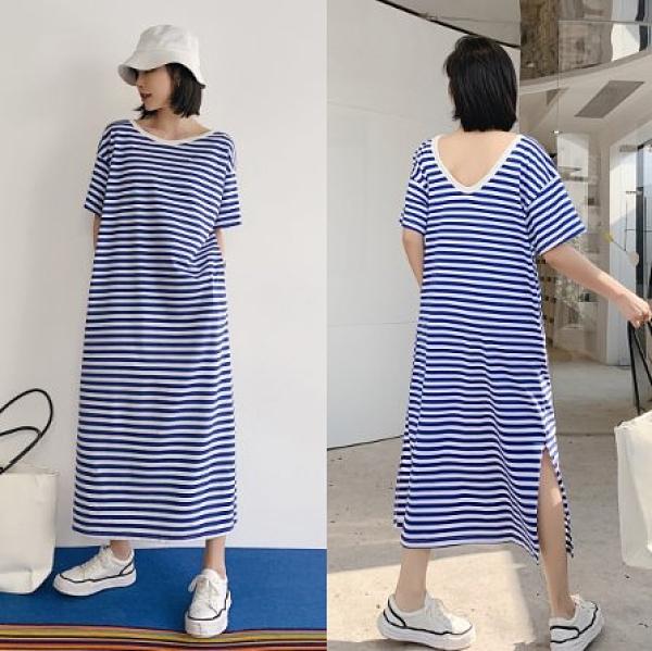 韓長版衣條紋裙中大尺碼L-3XL連身裙NC417.833皇潮天下