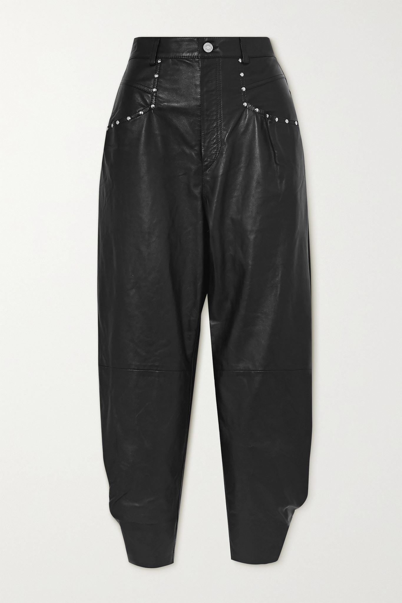 ISABEL MARANT - Studded Leather Tapered Pants - Black - FR36