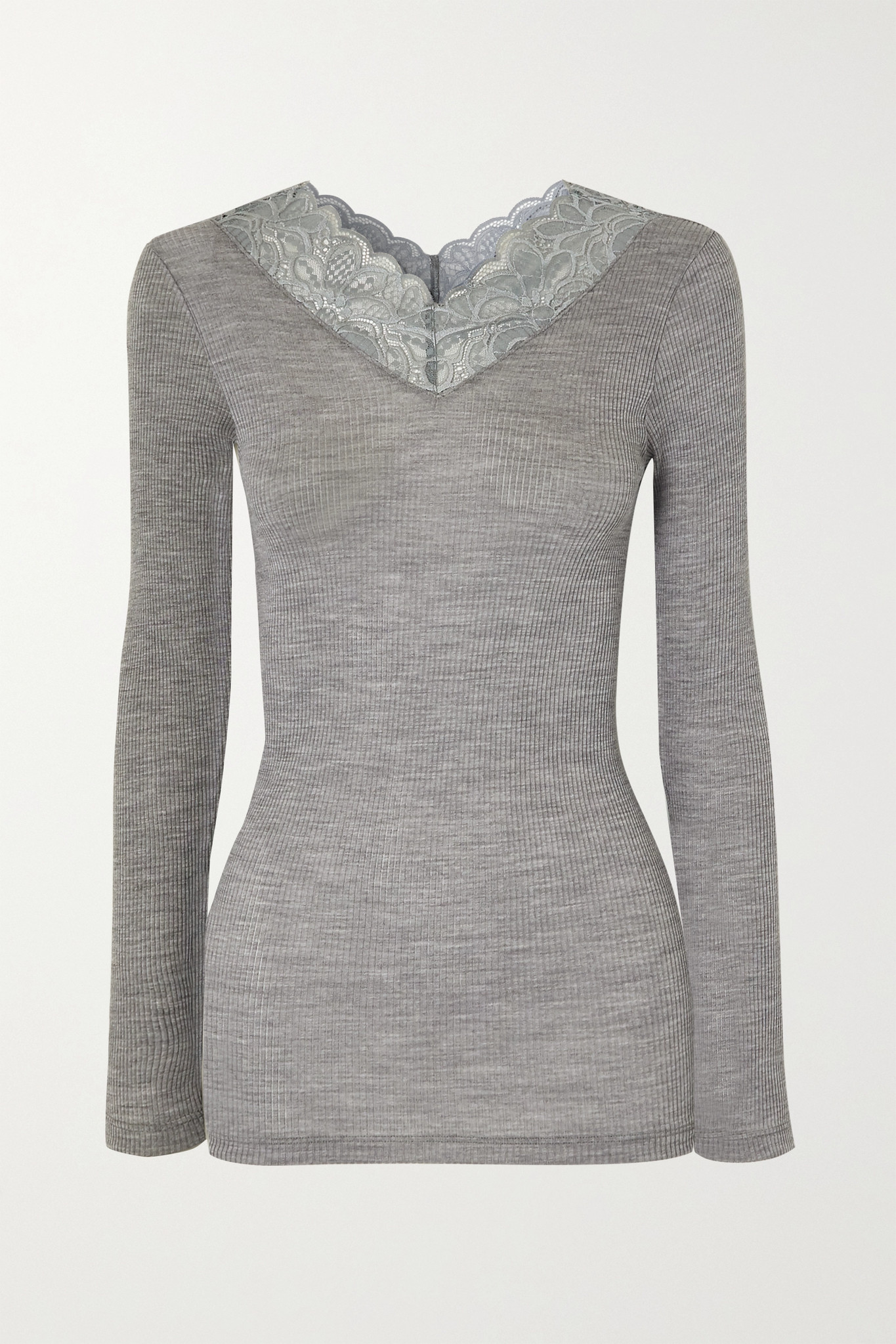 HANRO - Karla Lace-trimmed Wool And Silk-blend Top - Gray - large