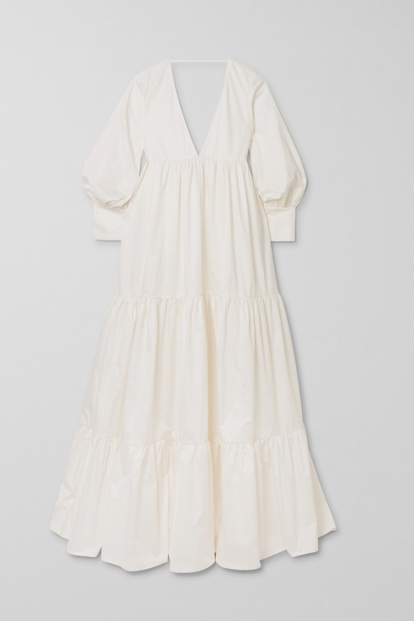 KALITA - Circle Day 层接式纯棉府绸超长连衣裙 - 白色 - x small