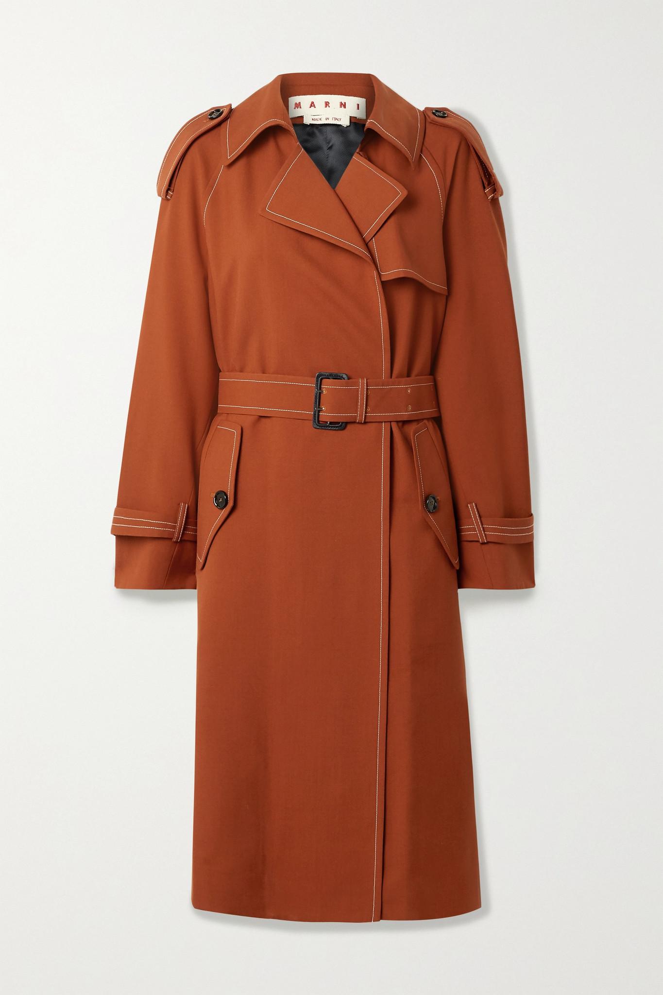 MARNI - 配腰带羊毛斜纹布风衣 - 红色 - IT40
