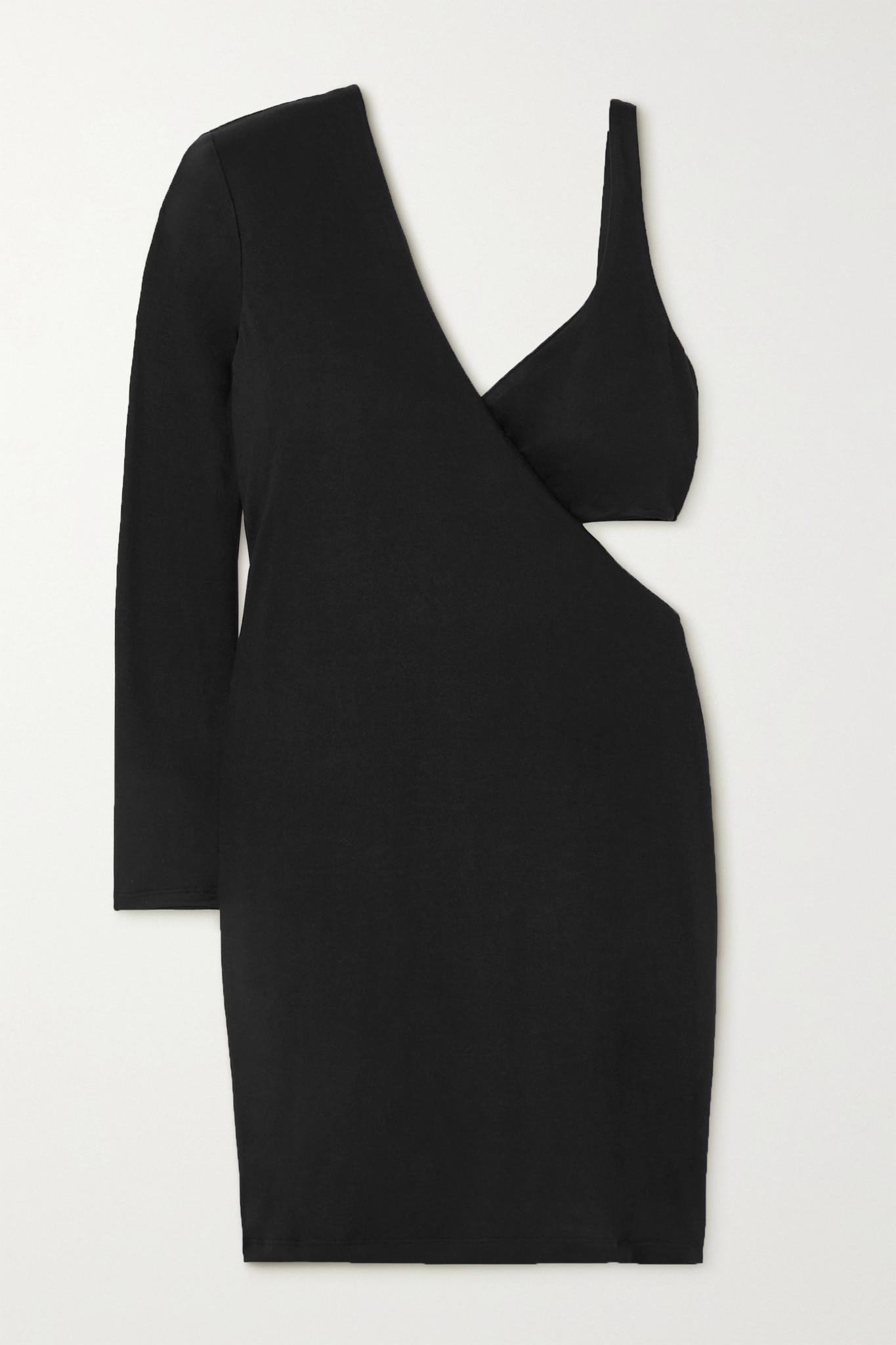 MARIKA VERA - Frances One-sleeve Cutout Stretch-jersey Mini Dress - Black - xx small