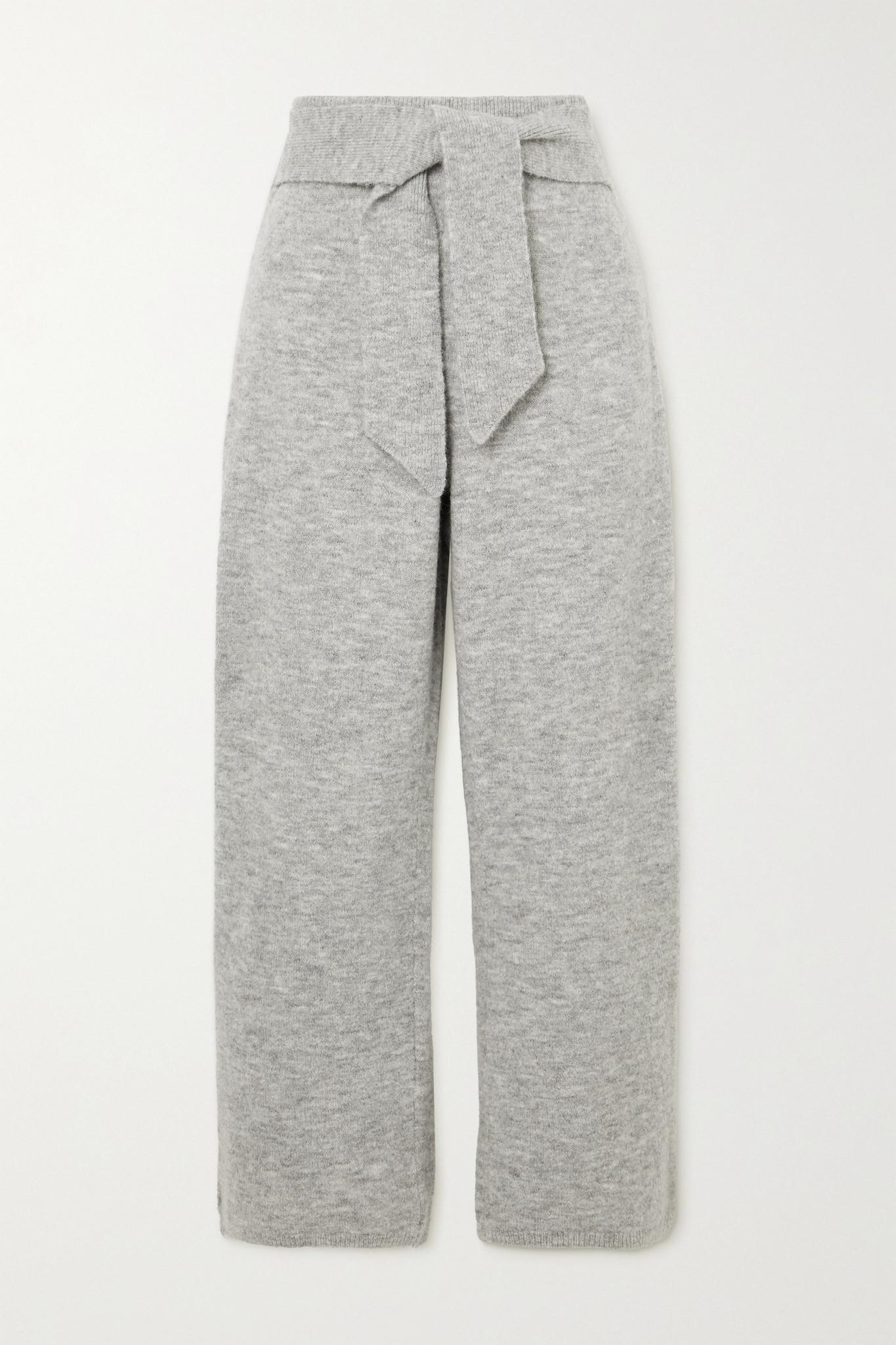 NANUSHKA - Nea Belted Ribbed Mélange Knitted Pants - Gray - small