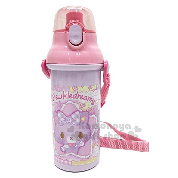 〔小禮堂〕甜夢貓 日製直飲式水壺附背帶《粉.蕾絲》480ml.水瓶.兒童水壺4973307-43084