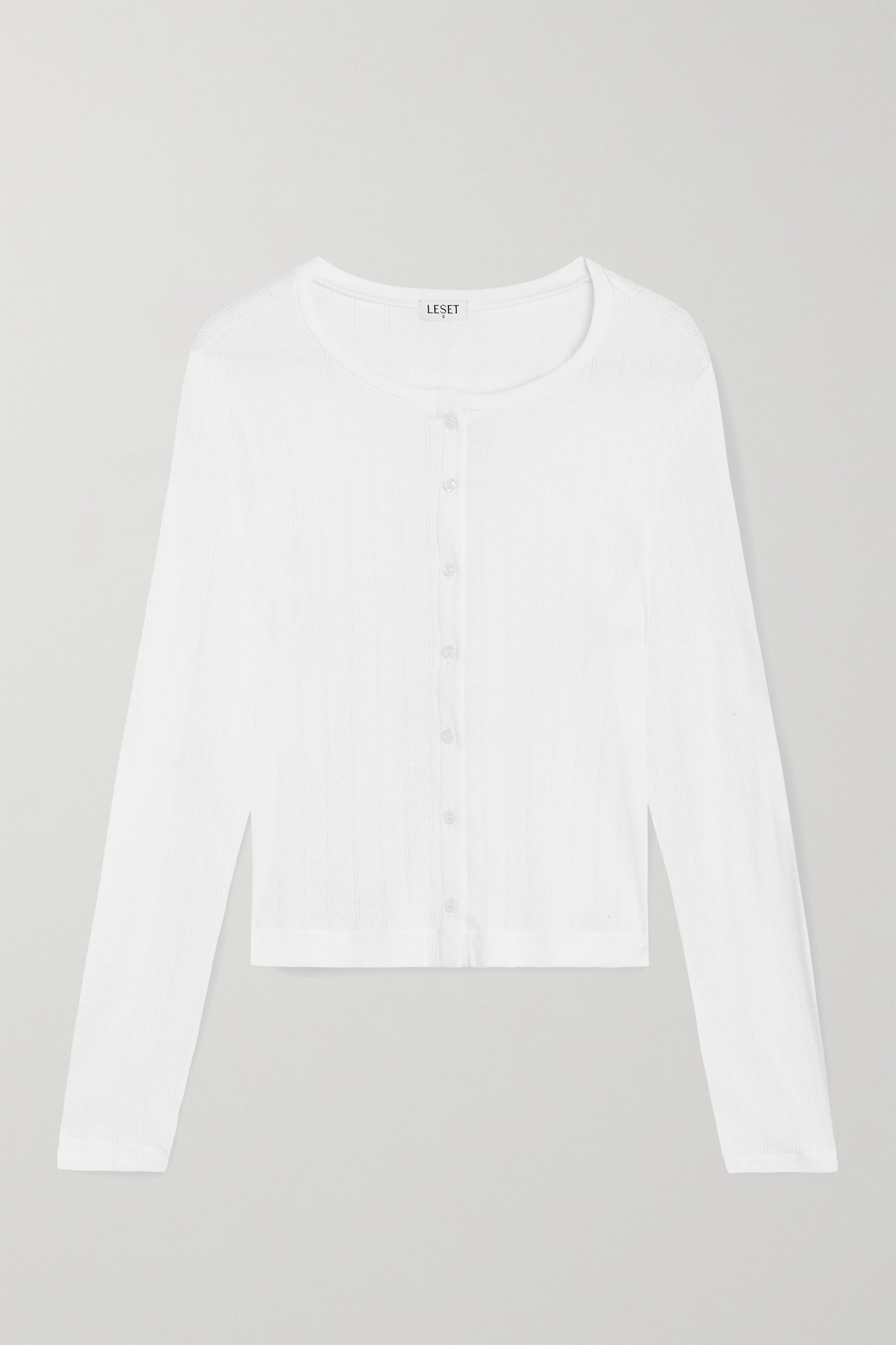 LESET - Pointelle-knit Cotton-jersey Cardigan - White - large