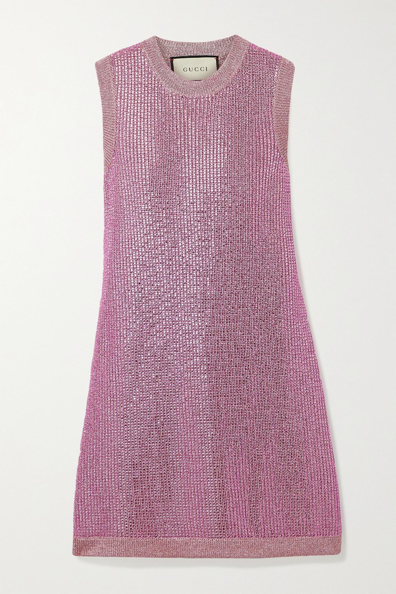 GUCCI - 水晶缀饰金属感针织迷你连衣裙 - 粉红色 - small