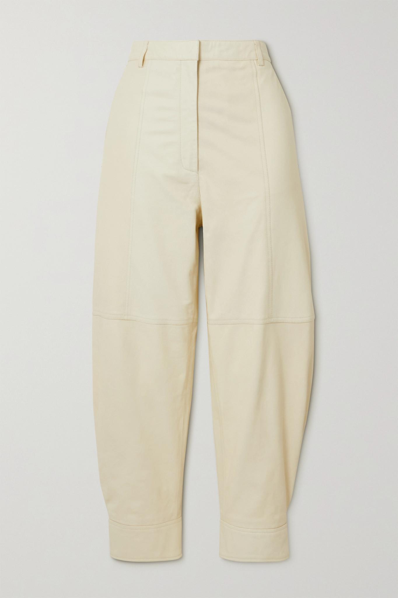 TIBI - Leather Tapered Pants - Cream - US2