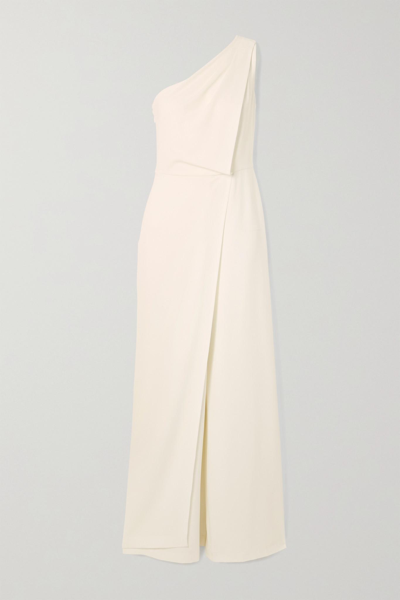 HALSTON HERITAGE - One-shoulder Draped Crepe Jumpsuit - White - US8