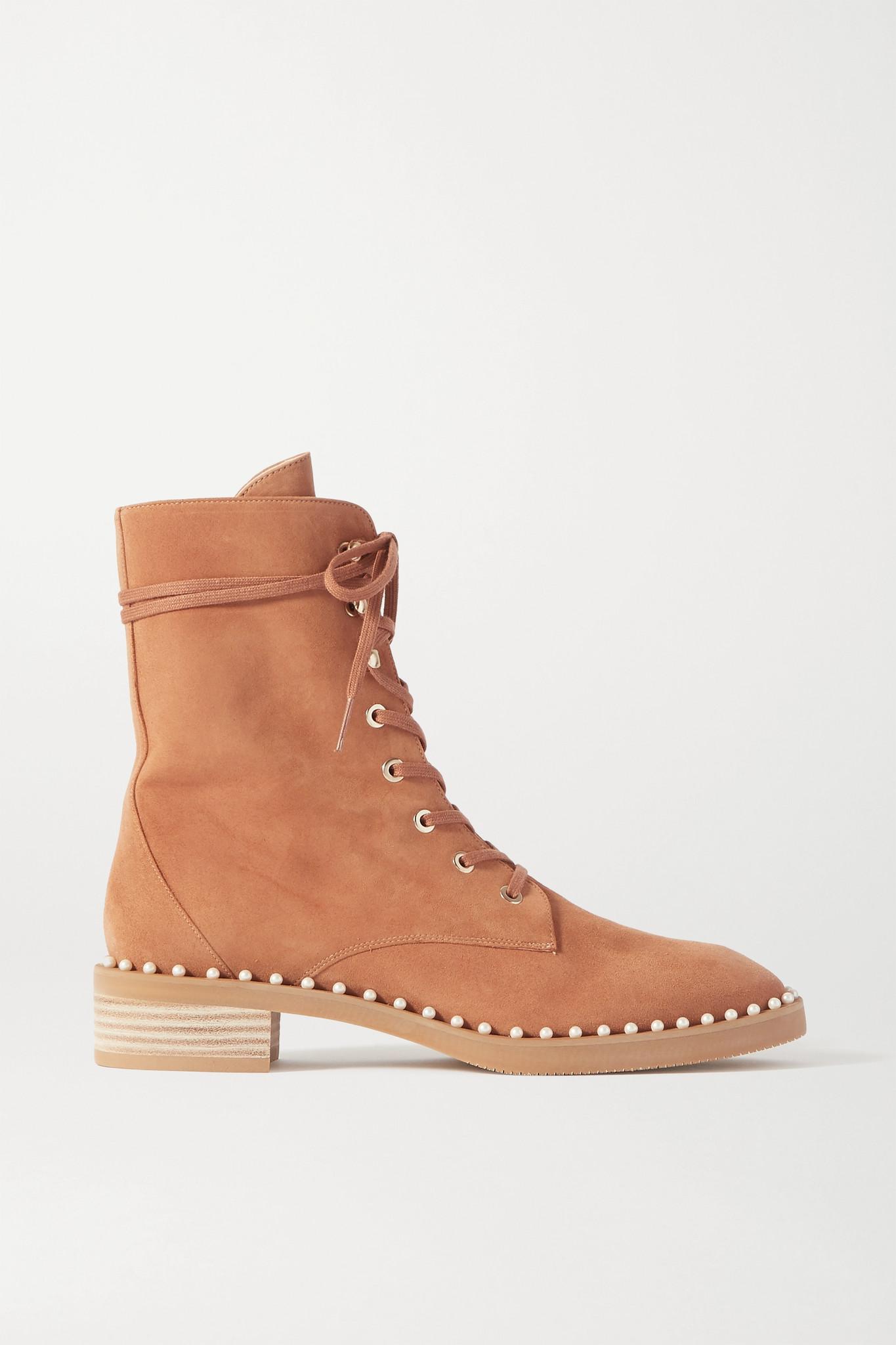 STUART WEITZMAN - Sondra 人造珍珠缀饰皮革踝靴 - 棕色 - IT35.5