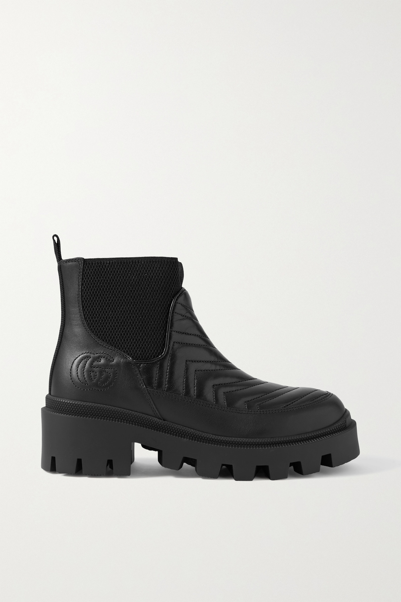 GUCCI - Frances Logo-embroidered Matelassé Leather Chelsea Boots - Black - IT35.5