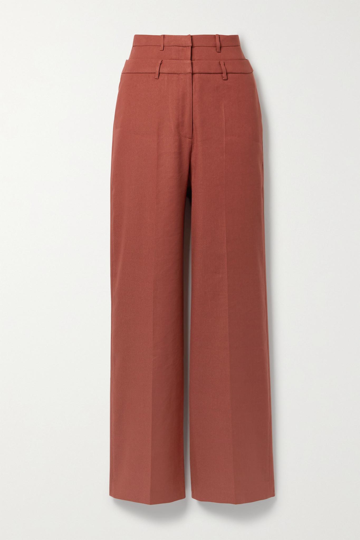 REJINA PYO - Laila 亚麻混纺斜纹布阔腿裤 - 红色 - UK10