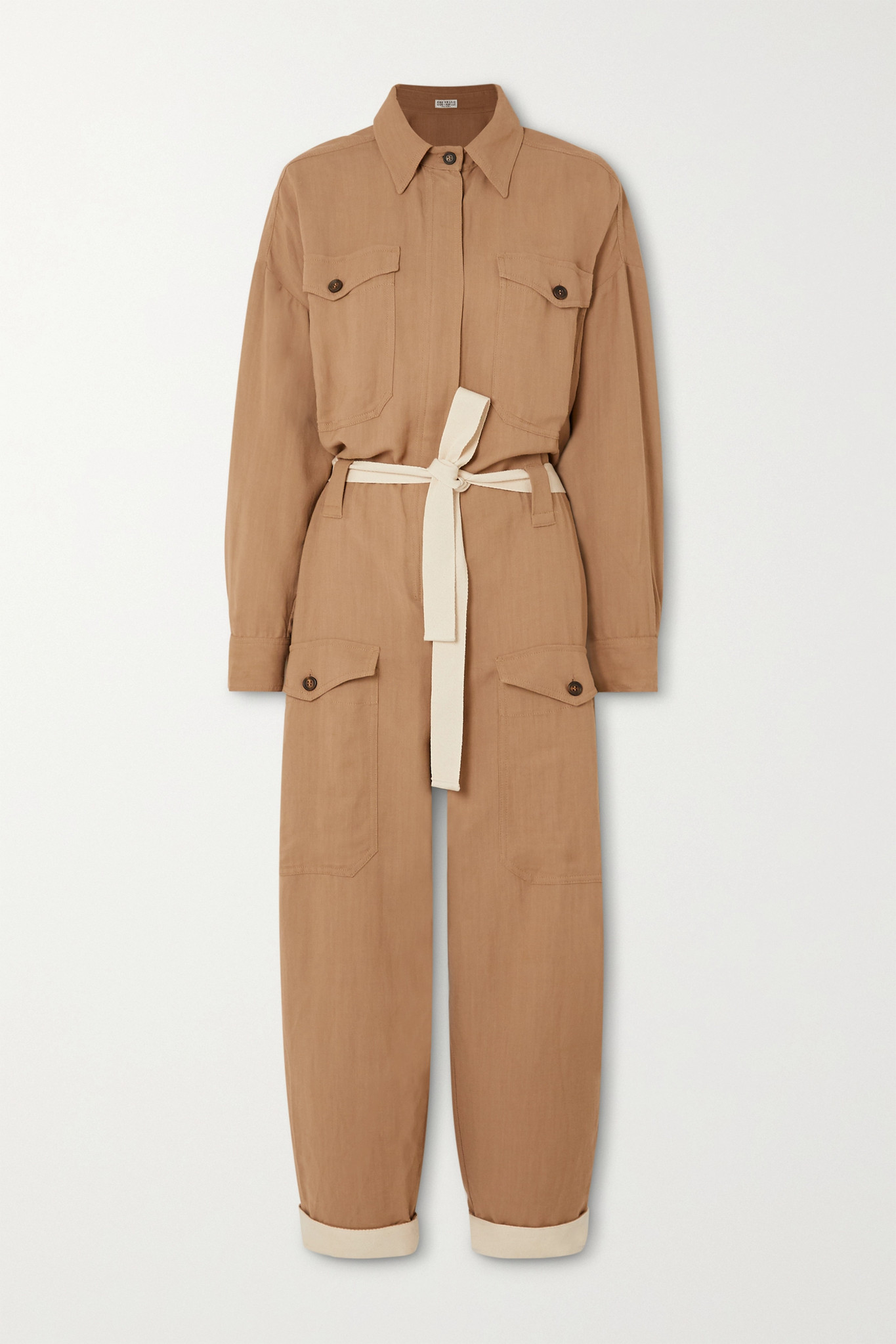BRUNELLO CUCINELLI - + Space For Giants Belted Twill Jumpsuit - Brown - xx small