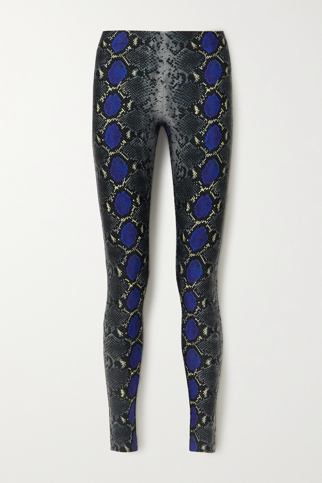 VERSACE - 蛇纹平纹布九分紧身裤 - 黑色 - IT38