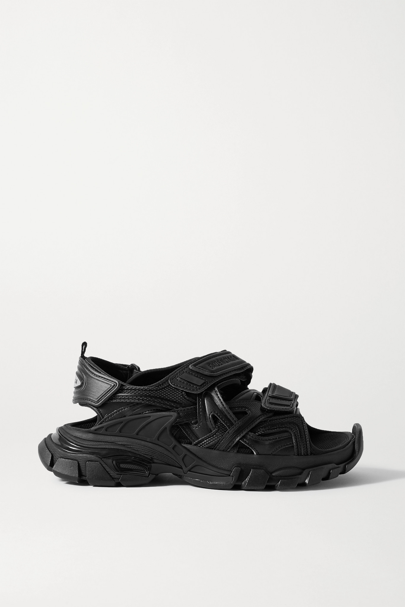 BALENCIAGA - Track Logo-detailed Leather And Rubber Sandals - Black - IT37