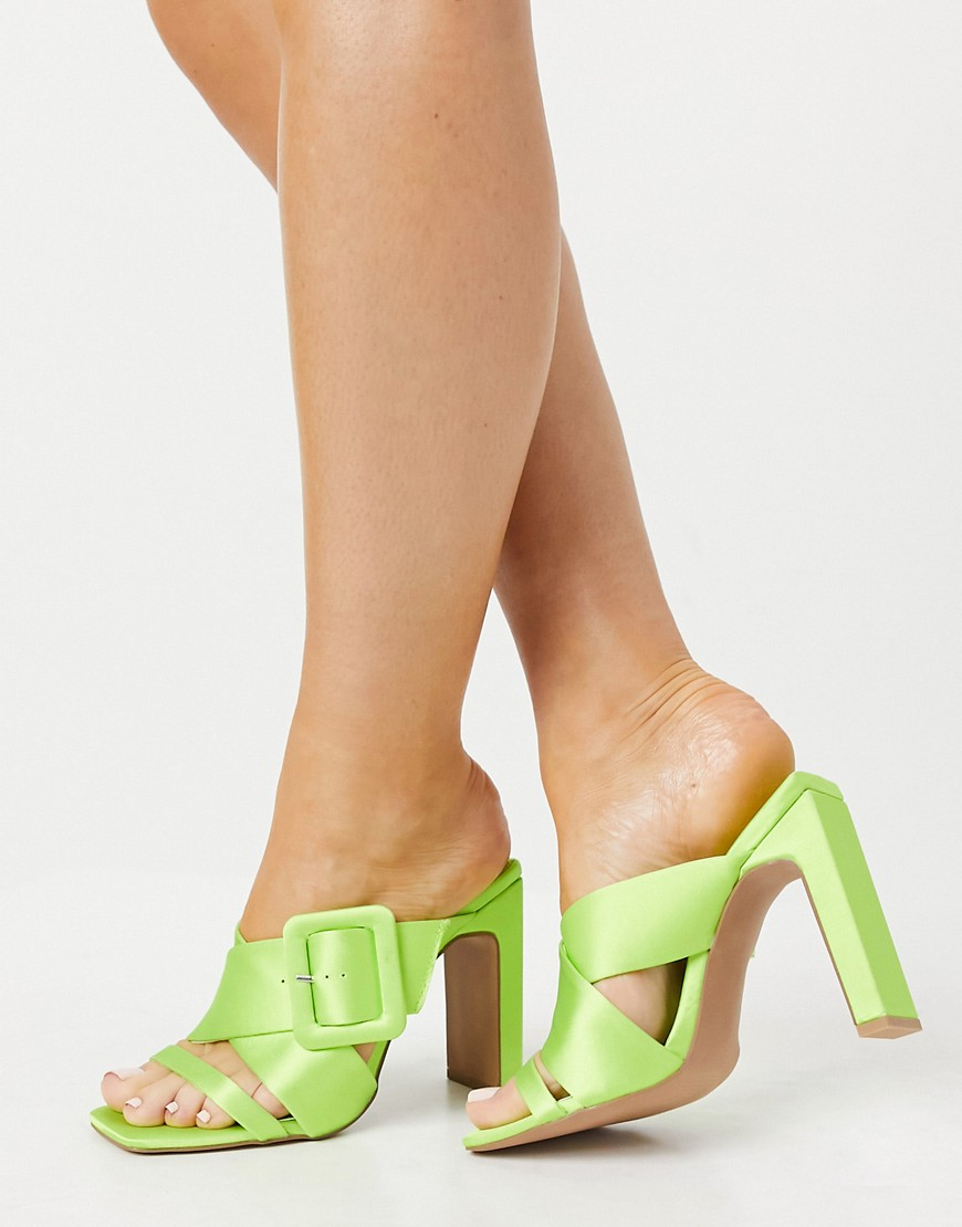 ASOS DESIGN Nanda buckle feature high heeled mules in green