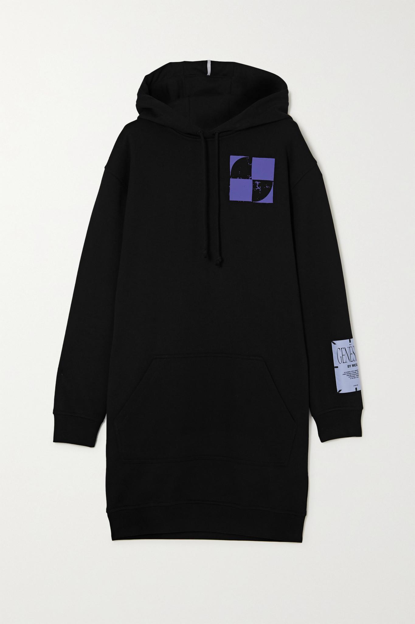 MCQ ALEXANDER MCQUEEN - 大廓形印花纯棉平纹布帽衫 - 黑色 - xx small