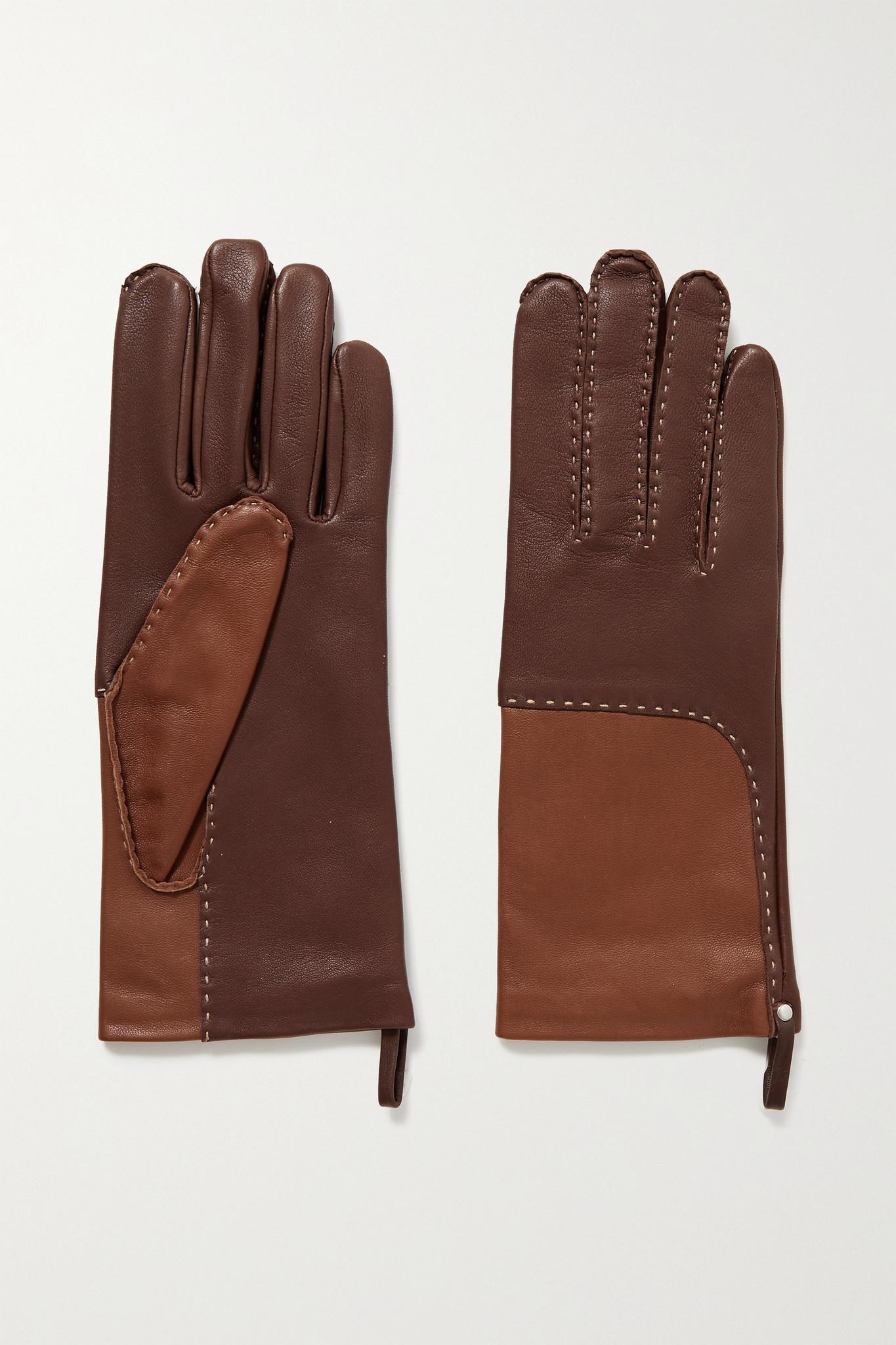 Agnelle - Yaelle 明线细节双色皮革手套 - 棕色 - 7