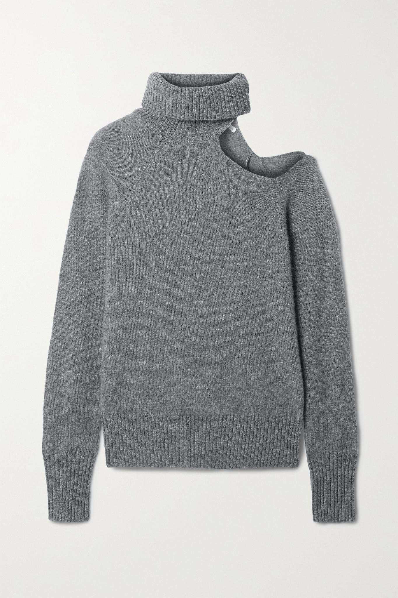SKIN - Phoebe 挖剪羊绒高领毛衣 - 灰色 - small