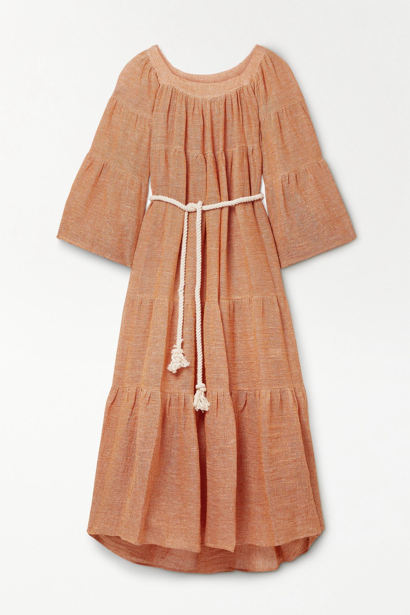 LISA MARIE FERNANDEZ - 【net Sustain】大廓形配腰带层接式亚麻混纺薄纱超长连衣裙 - 橙色 - 2