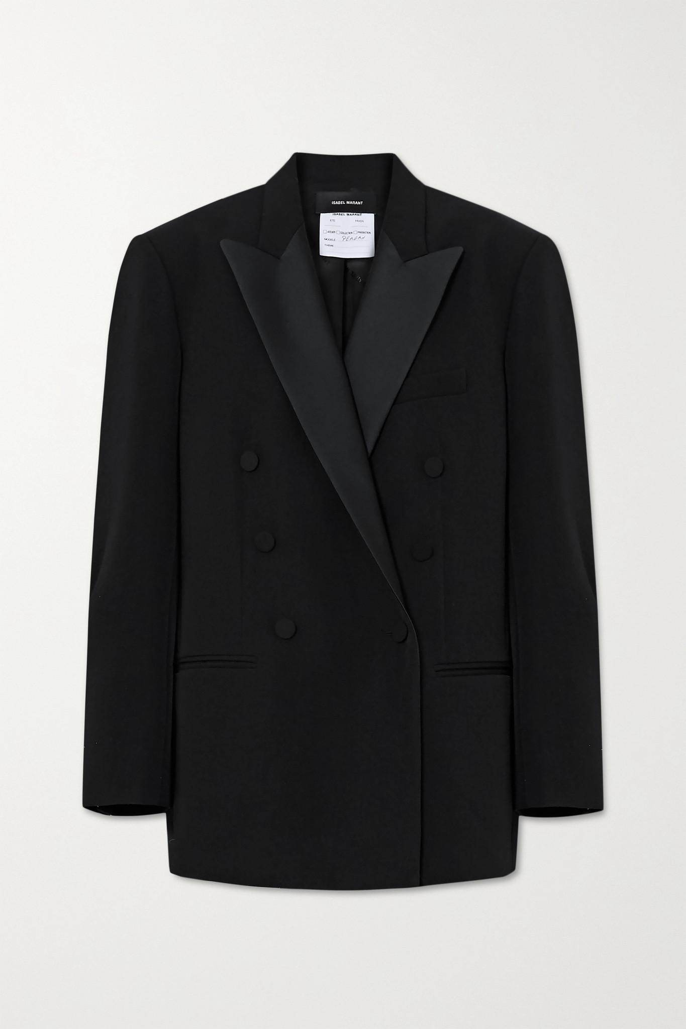 ISABEL MARANT - Double-breasted Satin-trimmed Wool Blazer - Black - FR34