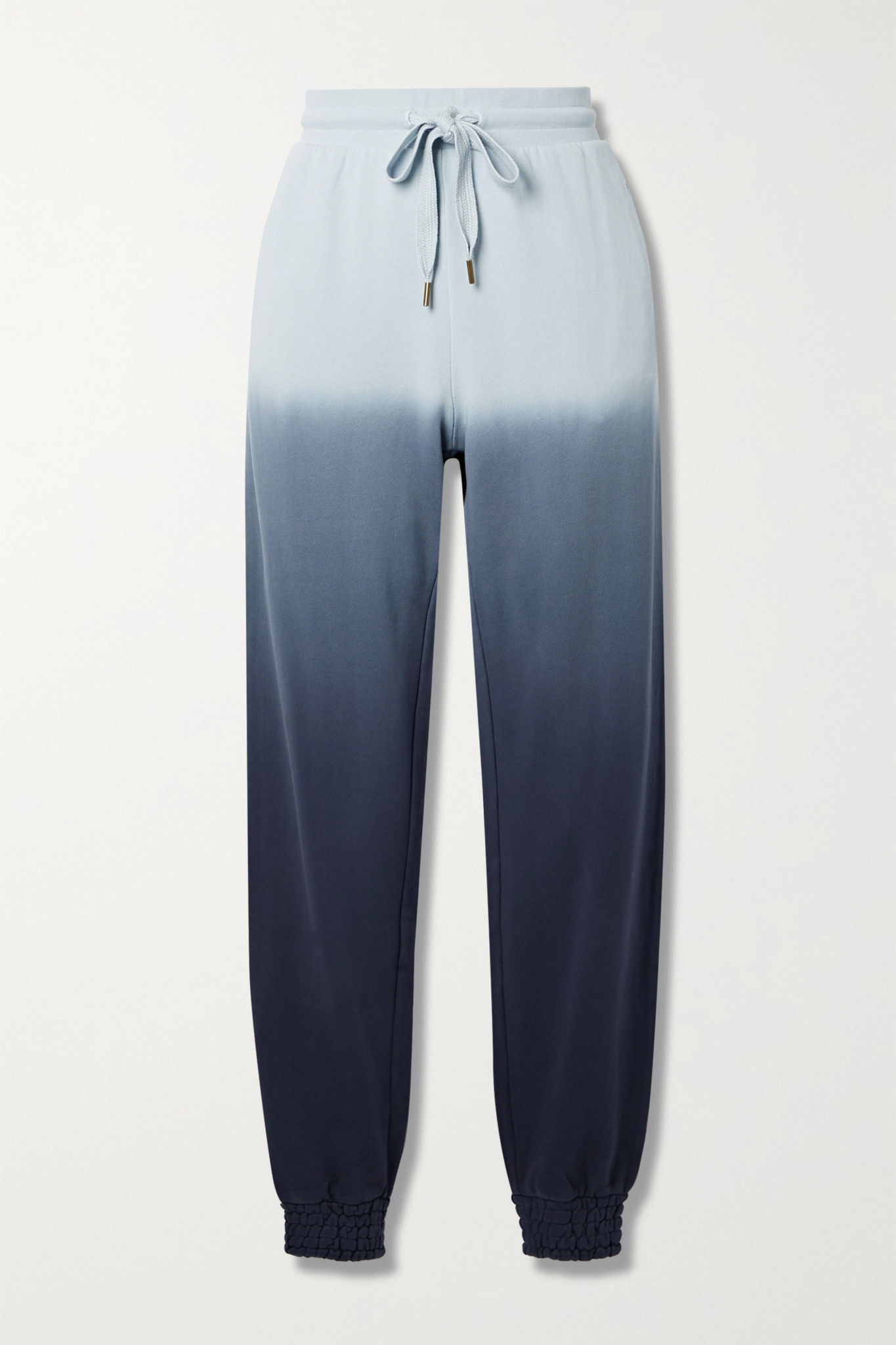 THE UPSIDE - Alena Embroidered Ombré Cotton-jersey Track Pants - Blue - small