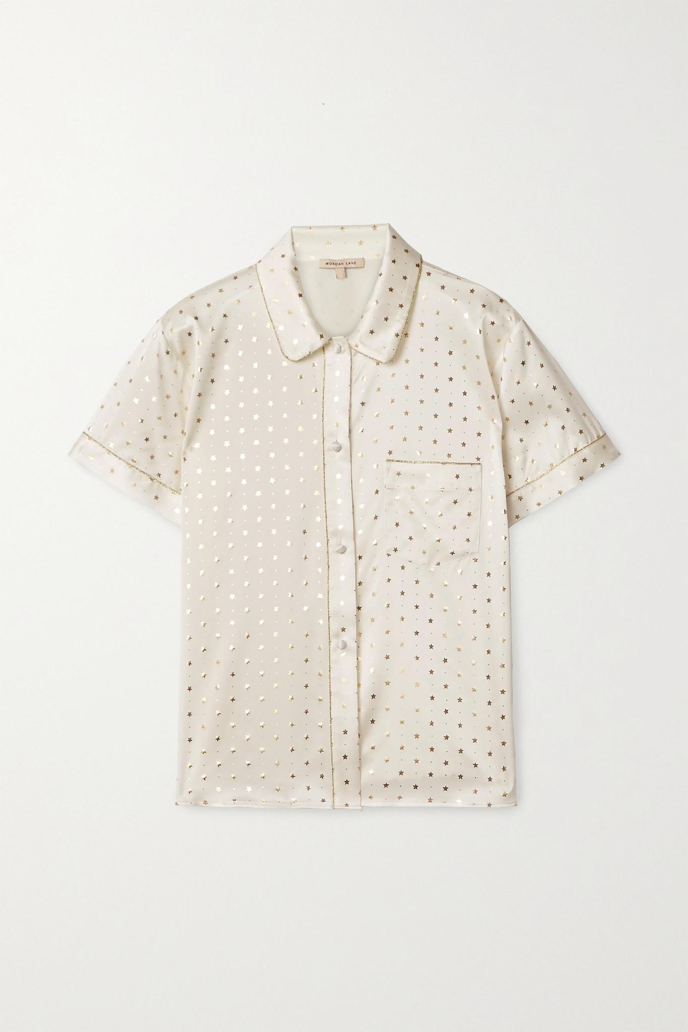 MORGAN LANE - Tami 金属感边饰印花真丝混纺缎布衬衫式睡衣 - 象牙色 - small