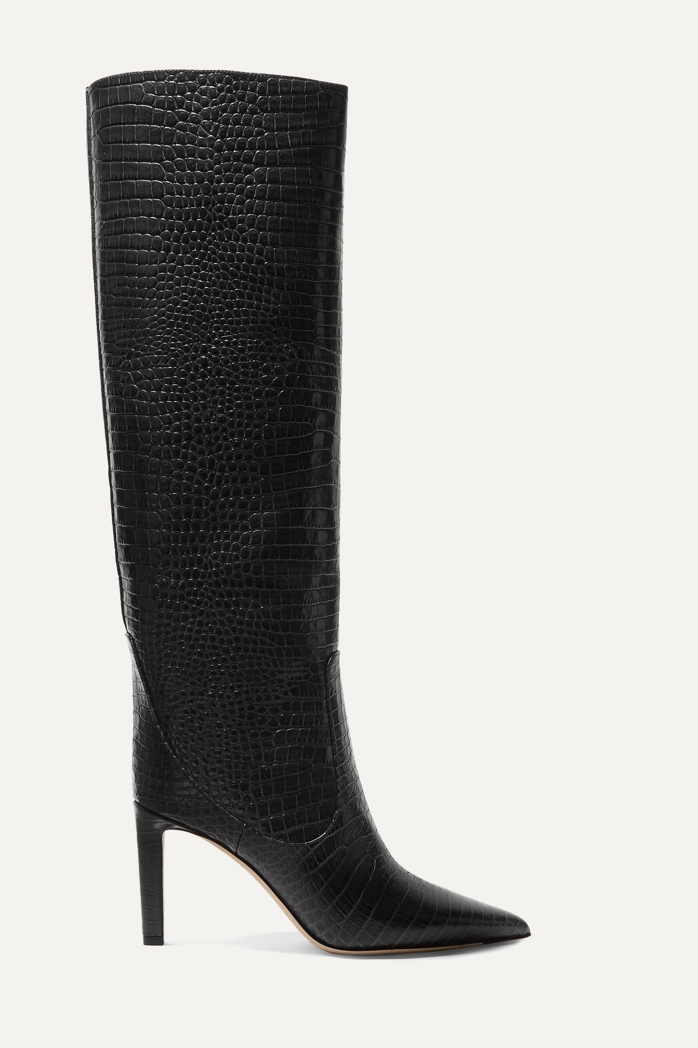 JIMMY CHOO - Mavis 85 Croc-effect Leather Knee Boots - Black - IT37.5