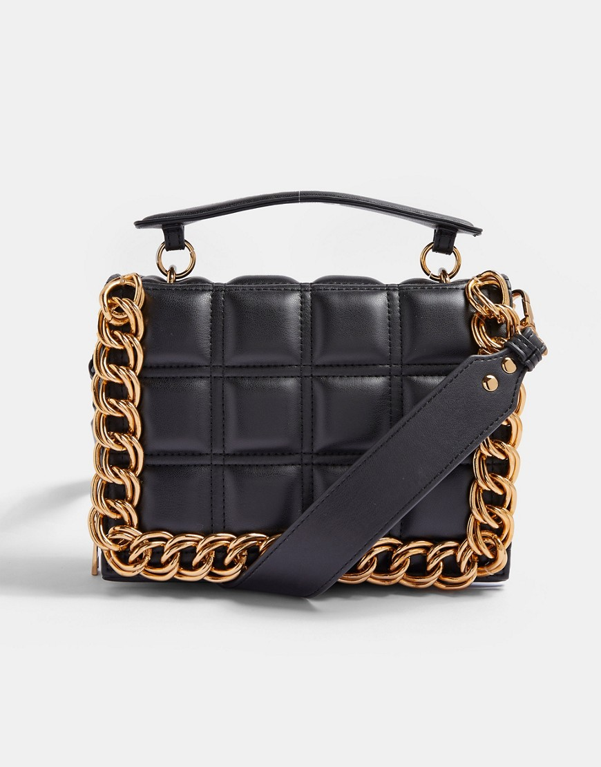 Topshop chain detail bag in black