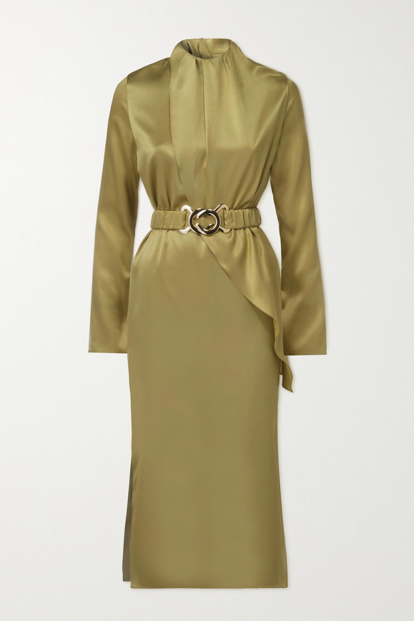 DODO BAR OR - Berna 配腰带垂坠丝缎中长连衣裙 - 绿色 - IT40