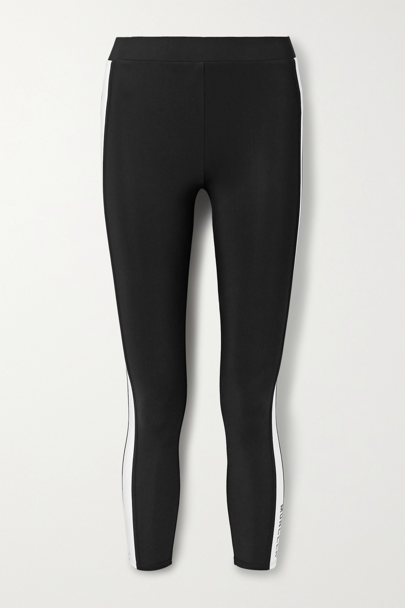 MONCLER - Cropped Two-tone Stretch Leggings - Black - small