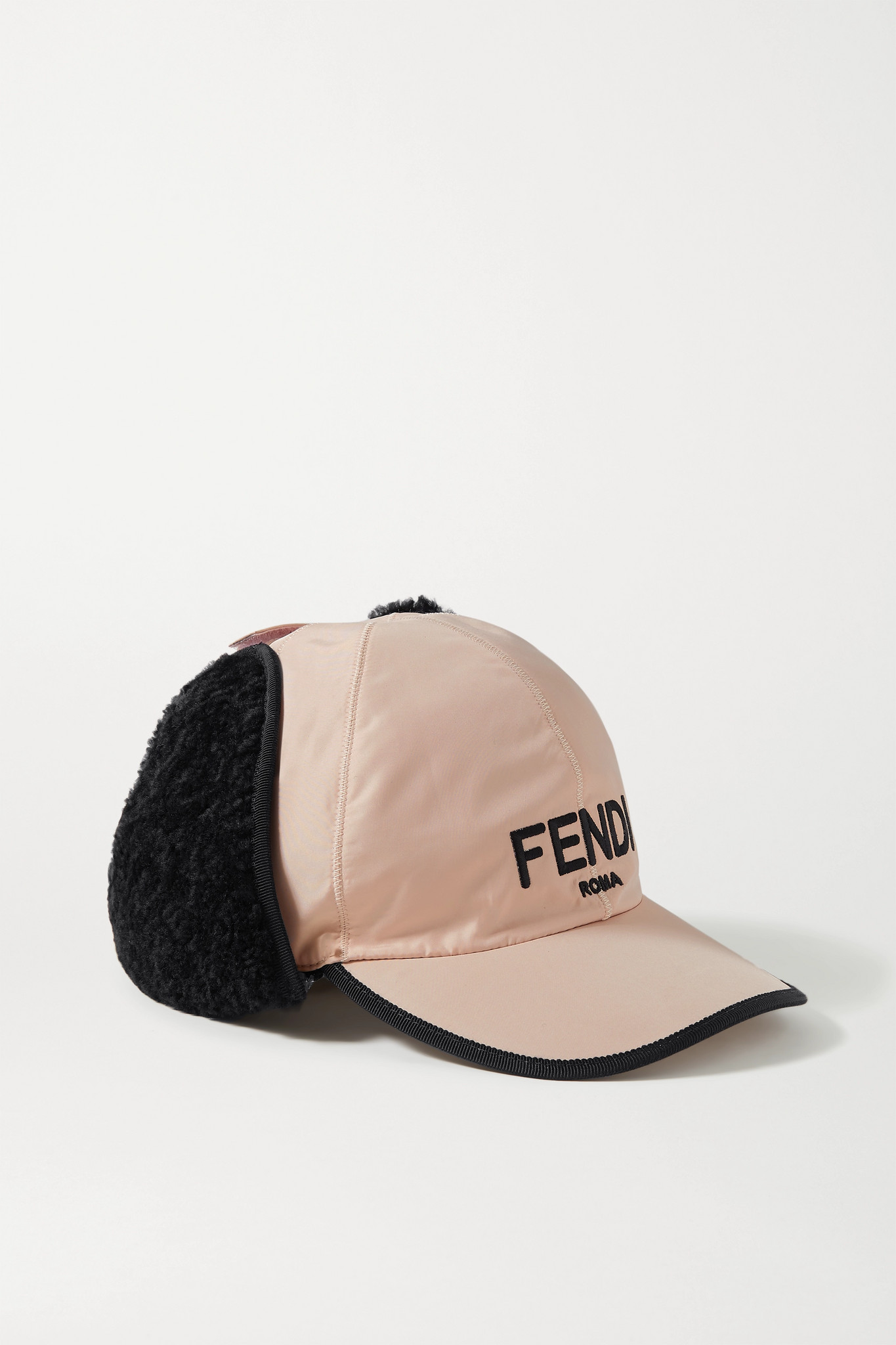 FENDI - Shearling-trimmed Embroidered Shell Baseball Cap - Pink - L