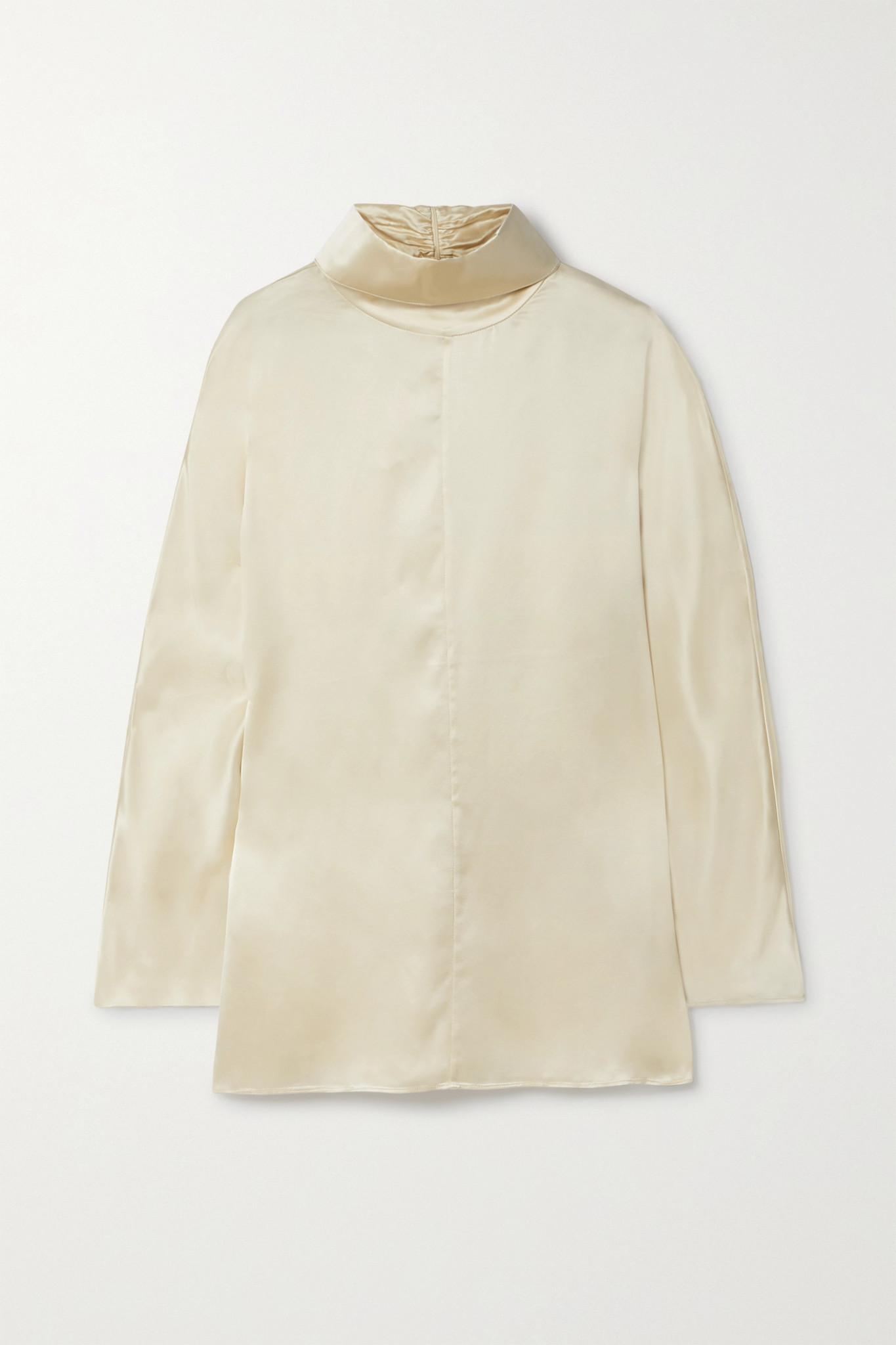 CO - Silk-satin Turtleneck Blouse - Cream - large