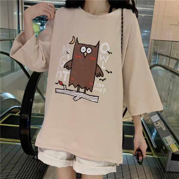 9th street韓版可愛貓頭鷹七分袖上衣(預購)