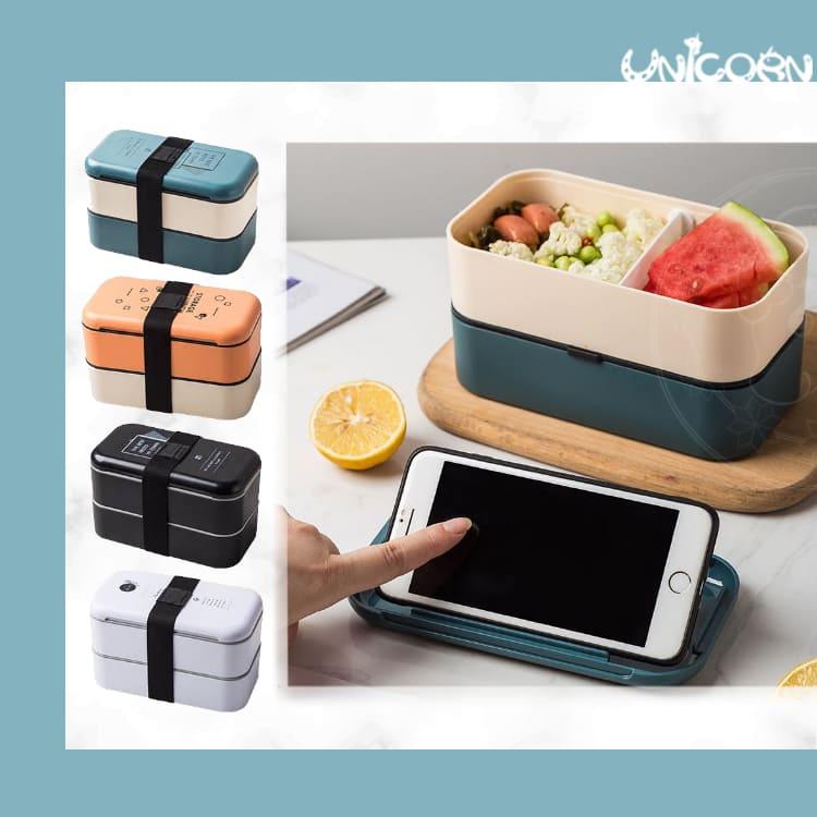 -四色-文藝配色款雙層綁帶便當盒 環保餐具 餐盒 飯盒 保鮮盒 可微波【EL1100202】Unicorn