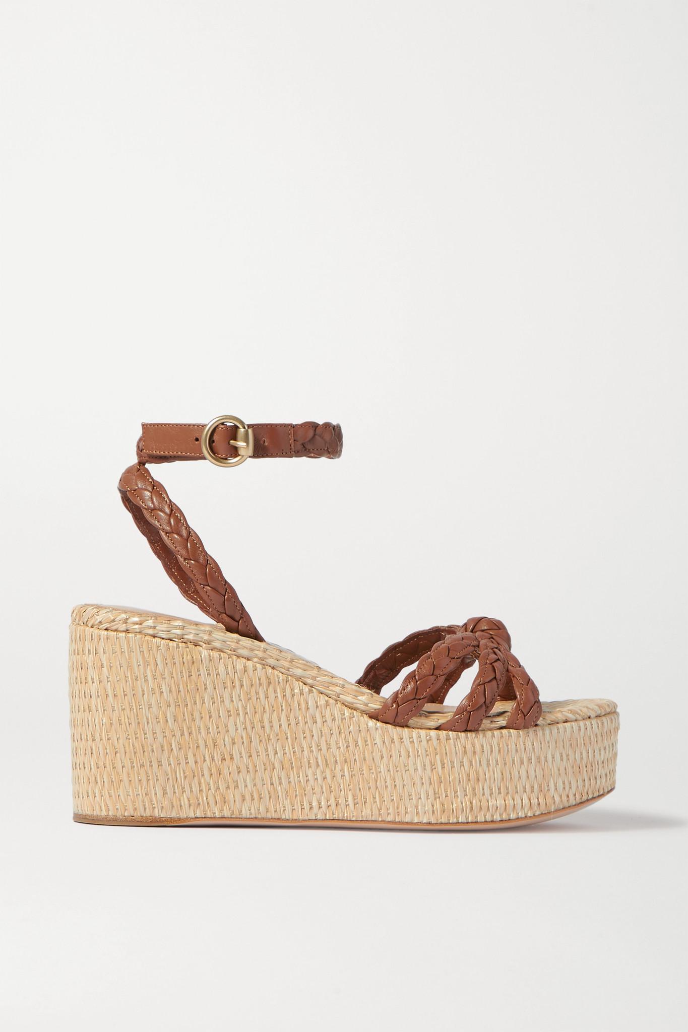 GIANVITO ROSSI - 80 麻花编织皮革坡跟凉鞋 - 棕色 - IT38.5