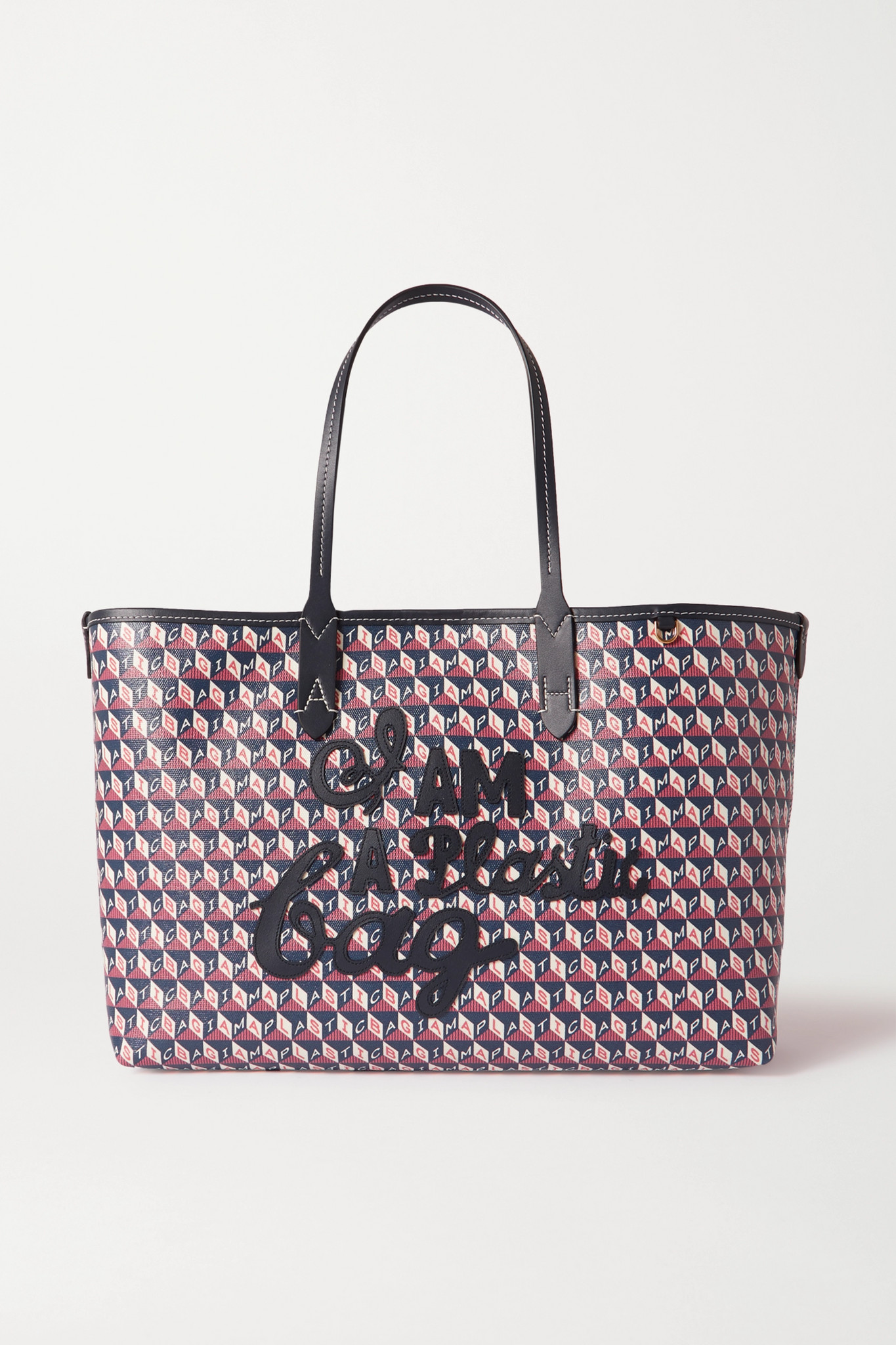 ANYA HINDMARCH - I Am A Plastic Bag Small Appliquéd Leather-trimmed Printed Coated-canvas Tote - Blu
